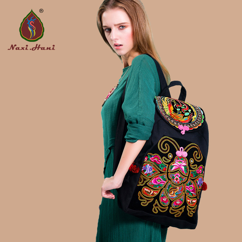 HOT Sales Naxi.Hani Thailand butterfly embroidered canvas women backpack Ethnic vintage casual cover travel backpack ethnic embroidered black cami dress for women
