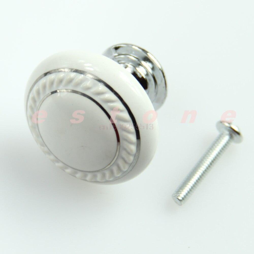1set Door Knob White Ceramic Crystal Glass Door Knob Drawer Cabinet Kitchen Wardrobe Handle