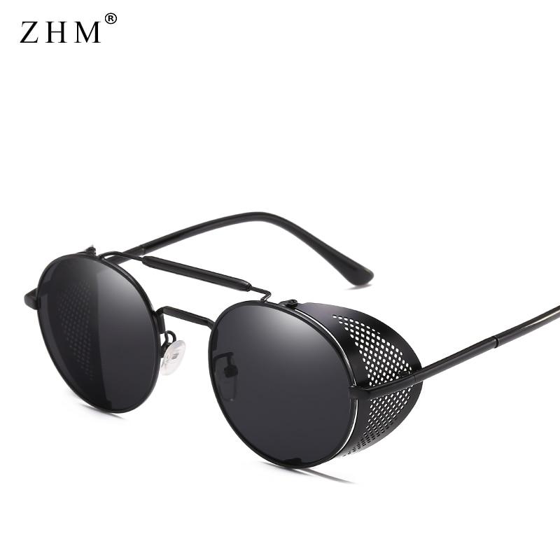 Steampunk Goggles Retro Sunglasses Men Punk Round Sunglasses Women Bra