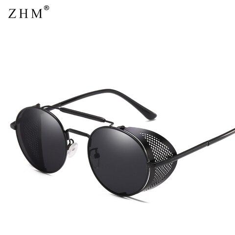 Steampunk Goggles Retro Sunglasses Men Punk Round Sunglasses Women Brand Designer Sun Glasses for Male UV400 Oculos De Sol Pakistan