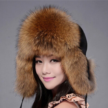 ZDFURS 2016 Russian Winter Fox Fur Caps Raccoon Fur Hats Wom