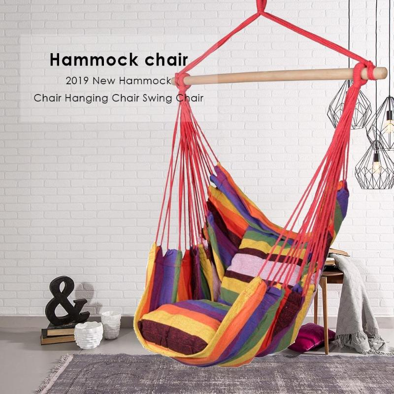 Hammock Chair Hanging Chair Swing With 2 Pillows Outdoor Garden Hammock For Adults Kids Hanging Chair Swing Bed Chair Drop Ship