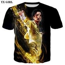 YX GIRL Men/Women Hip hop t-shirt 2019 summer New Mens 3d King of Pop Michael Jackson Print Casual Cool t shirt