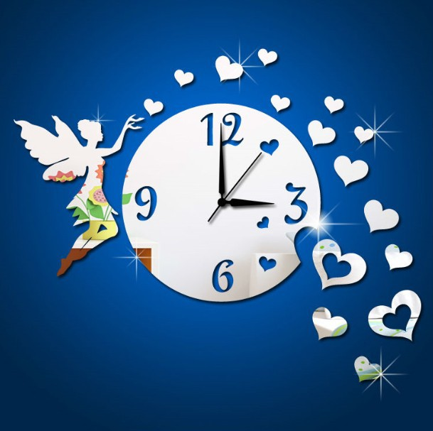 Free shipping acrylic fairy wall clock mirror sticker with 15pcs heart mirror decal ,Vinyl decal&Murals