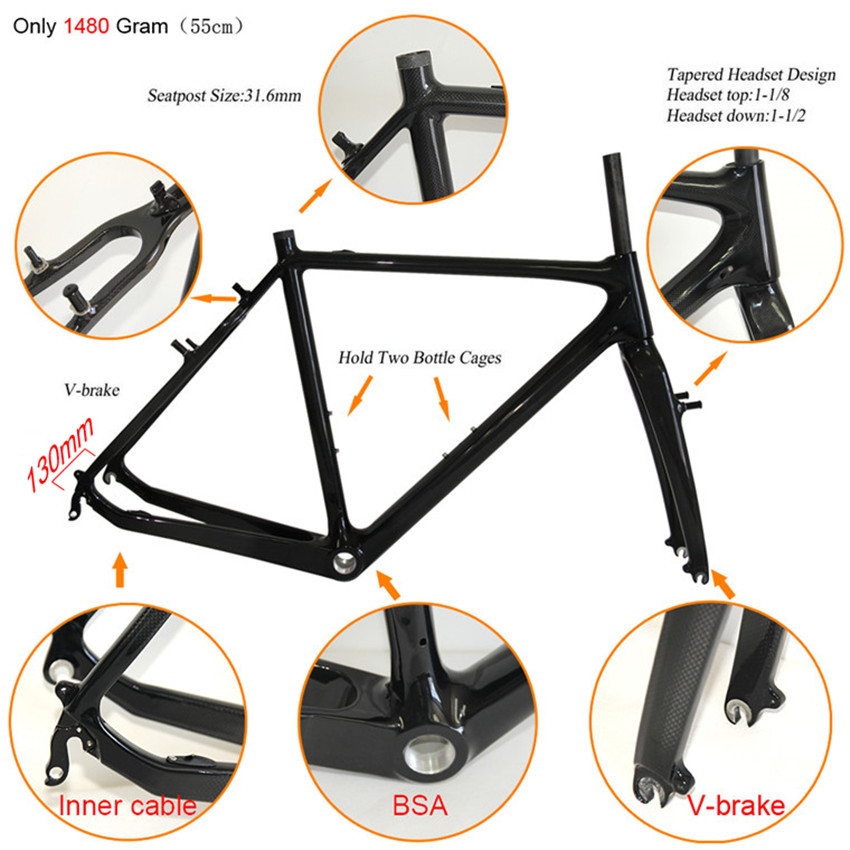high quality 700c road bicycle cyclecross carbon fiber frame road bike cyclocross carbon frameset factory