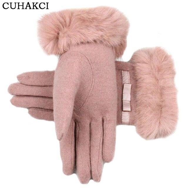 Женские Наручные Теплые Шерстяные варежки женские Luvas натурального меха кролика перчатки кашемировые зимние для девочек Элегантные Перчатки для леди бантом G040