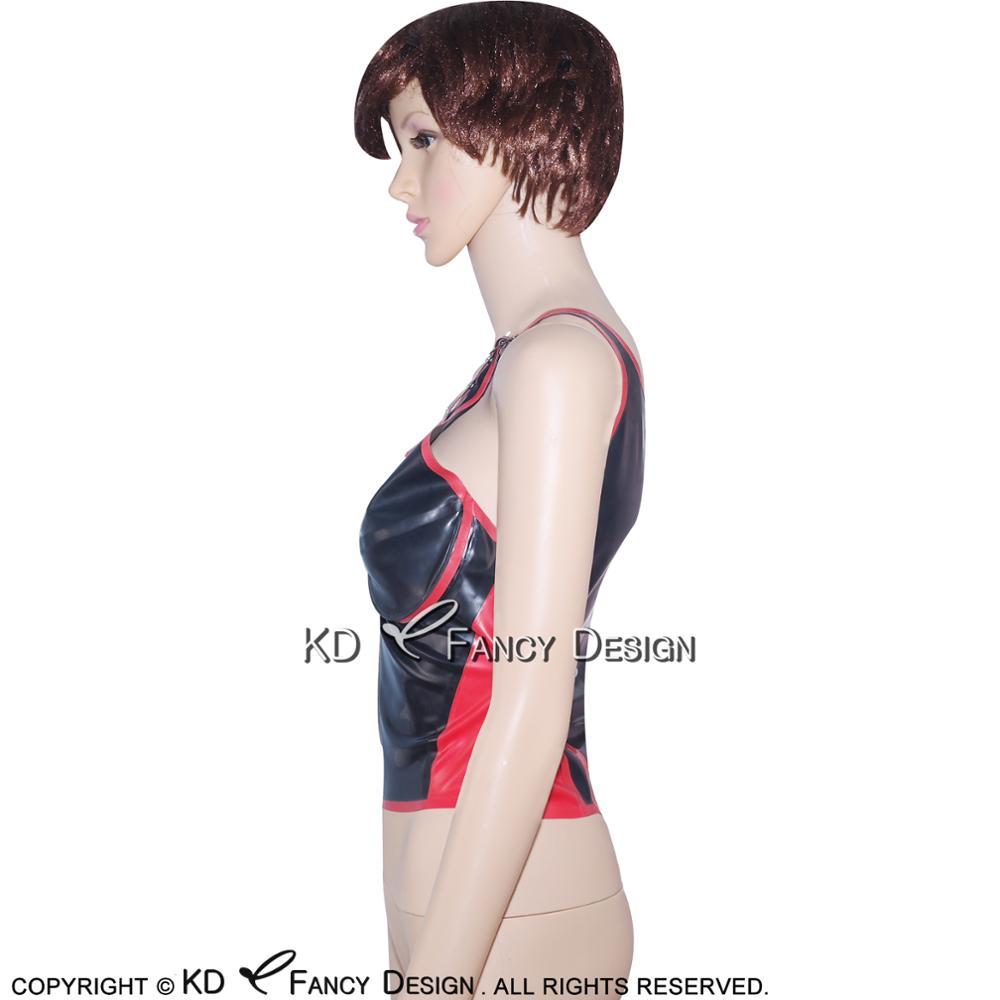 Noir avec garnitures rouges Sexy Latex chemise haute avec ceintures fermeture éclair à l'avant en caoutchouc sous-vêtements vêtements YF-0020 - 2