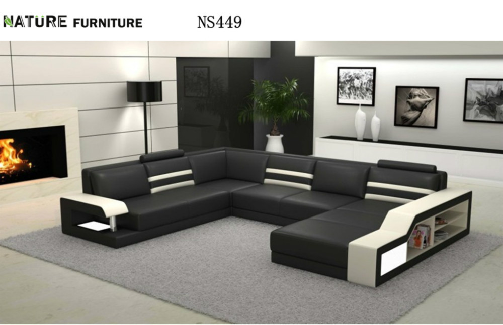 Modern L Shape Corner Sofa Top Genuine Leather Living