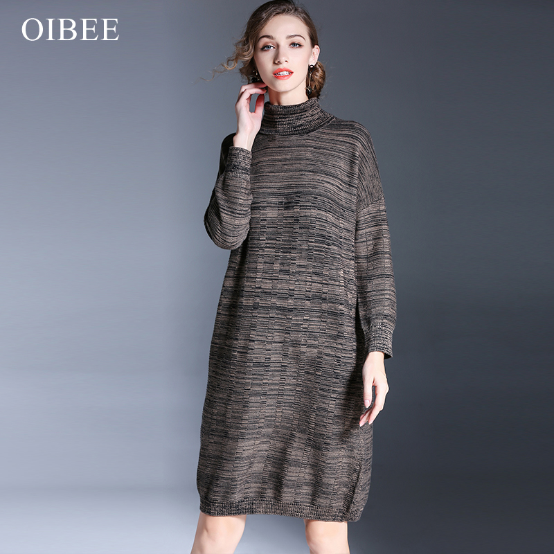 OIBEE Casual Turtleneck Long Knitted Sweater Dress Women Slim Cotton Bodycon Women Sweater Dress Autumn Winter Dress 2017 women turtleneck front pocket sweater dress