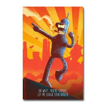 Шелковый Плакат гобелен Футурама
