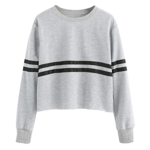 cd02aaa8f4e Striped Printed Women Colorblock Athletics Sweatshirts Casual Sporting  Sweatshirt Fall Long Sleeve Crop Top Cropped Pullover