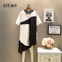 [XITAO] 2017 new summer Korea fashion female patchwork short sleeve O-neck pullover knee-length casual loose dress  TXN042