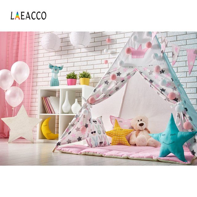 Laeacco Baby Party Brick Wall Balloons Tent Star Photography Background Customized Photographic Backdrops Props For Photo Studio