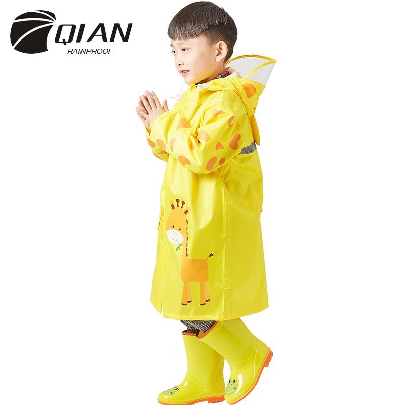 QIAN 3-10 Years Old Kids Raincoat Waterproof Boys Girls Hooded Rain Coat Cartoon Sleeves School Tour Colorful Rain Poncho Suit