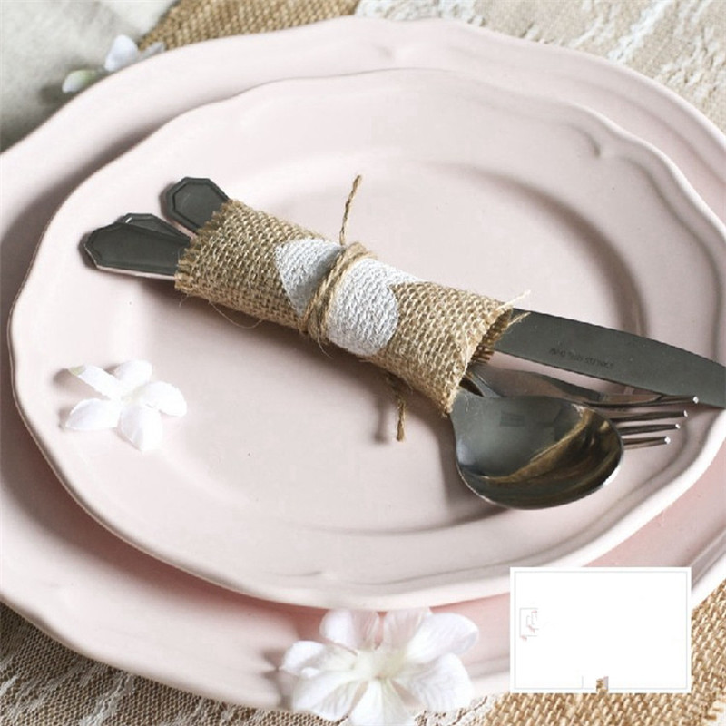 100pcslot Jute Cup Mat Table Placemat Coaster Rustic Wedding Centerpiece Wedding Cutlery Pocket Burlap Wedding Decoration (2)