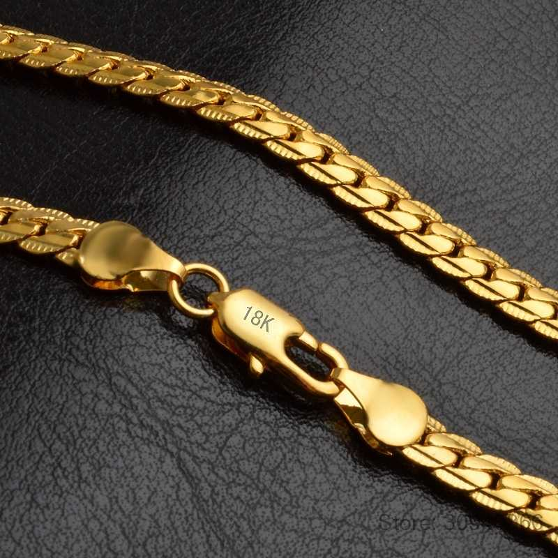 Naszyjnik 5mm mężczyzn biżuteria pełna boki złoty hurtownia nowa moda kobiety Link naszyjnik łańcuch na wesele