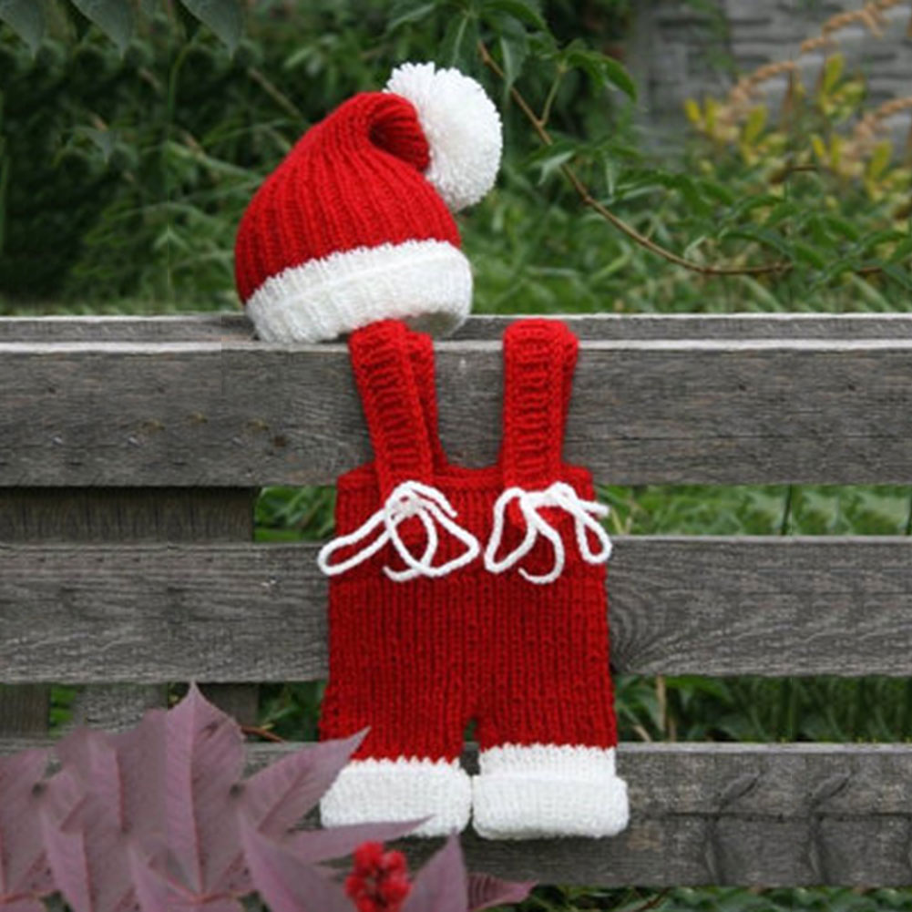 Newborn Baby Photography Props Infant Knit Crochet Costume Christmas Santa Claus Outfits Romper + Hats baby Birthday Xmas Gift new christmas caps funny red white fashion adult santa claus skullies cotton blend xmas beanies christmas costume unisex caps