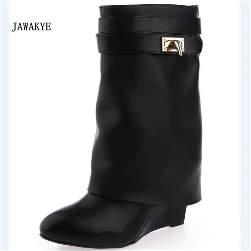 2017 Hot Shark Lock Ankle Boots Woman Pointed Toe Real Leather Height Increasing Wedge Mid-Calf Boots Woman Fashion Short Boots 2015 retro elastic band rivets height increasing pointed toe platform 2 colors real leather mid calf boots women outdoor shoes