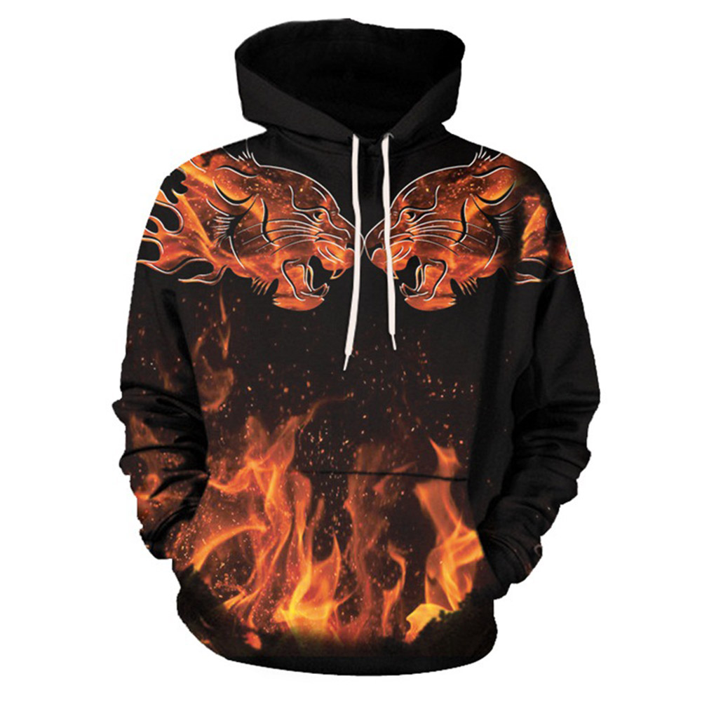 Man Professional 3D Digital Jet Printed Hoodies New Brand Mans Clothes Cool Flame Burning Leopard Printed Sweatshirts