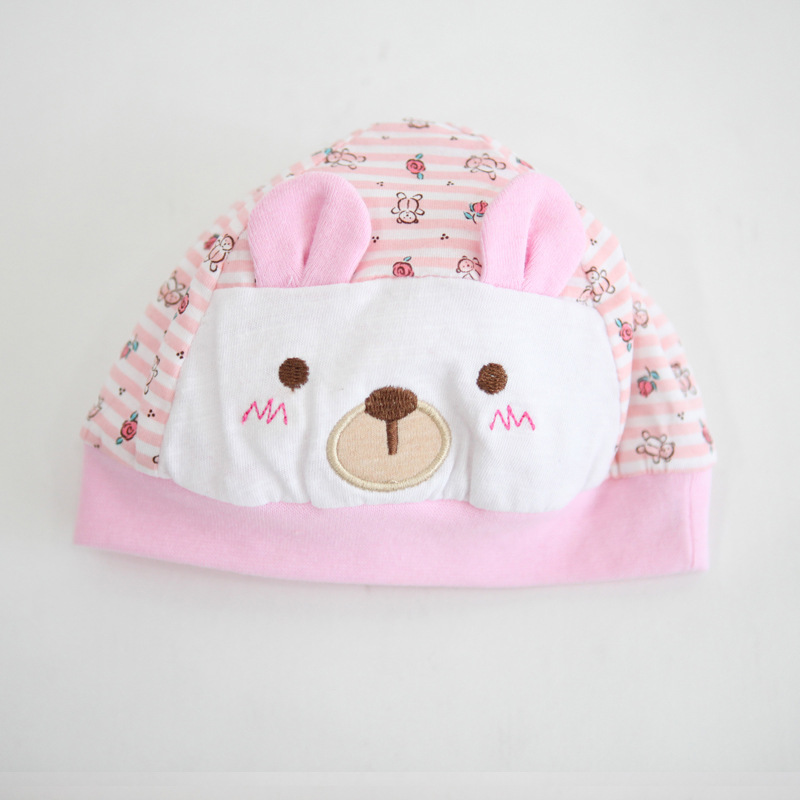 100% Cotton Bear Printed Baby Caps For 0-3 Months Girls and Boys Newborn Beanie Cap Toddler Infant Baby Hats
