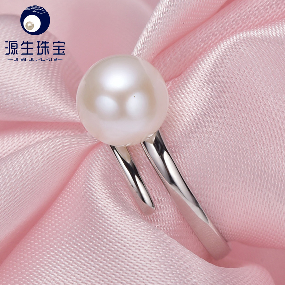 Pearl Jewelry,Natural Freshwater Pearl rings, Round, AAAA, charm wedding rings for women,925 silver ring as gift YSETB006