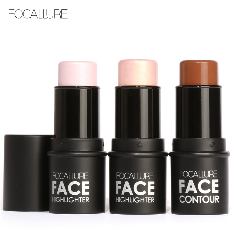 Focallure Face Makeup 4colors Highlighter Stick Shimmer Resaltado en polvo Textura cremosa Silver Shimmer Light