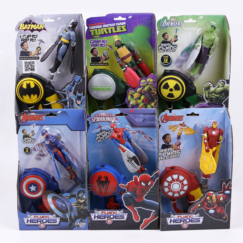 Marvel Flying Heroes Batman Spiderman Captain America Iron Man Hulk Raph PVC Action Figure Collectible Model Toy 6pcs/lot