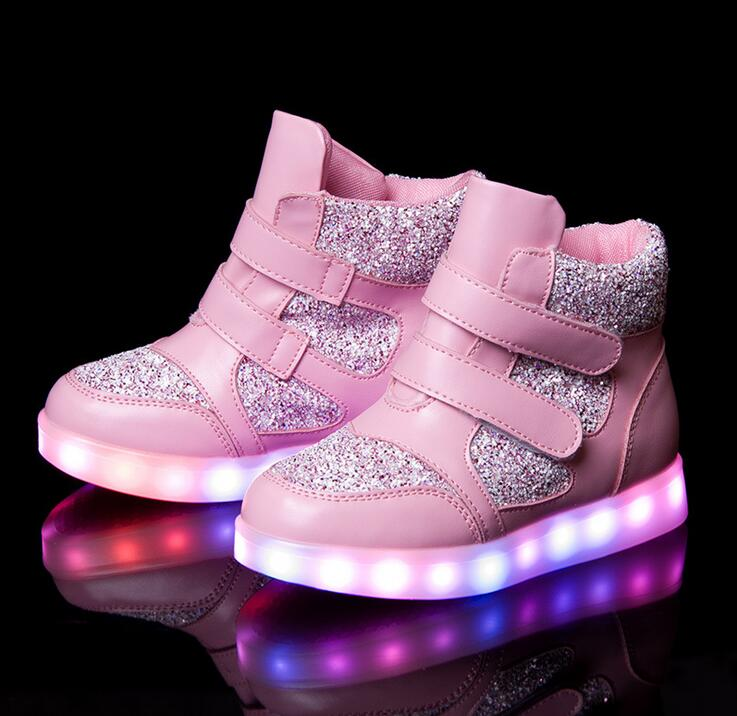 2016 Children Shoes With LED Light Bright Child Shoes Girls &Boys Enfant HighTop Usb Charge Spring Casual Shoes For Kids 3 Color 2018 children pu shoes with led light