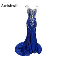 Real Picture New Cap Sleeve Sparkly Mermaid Evening Dresses Long Dubai Luxury Rhinestones Beads Sequin Prom Dress for Women 2018