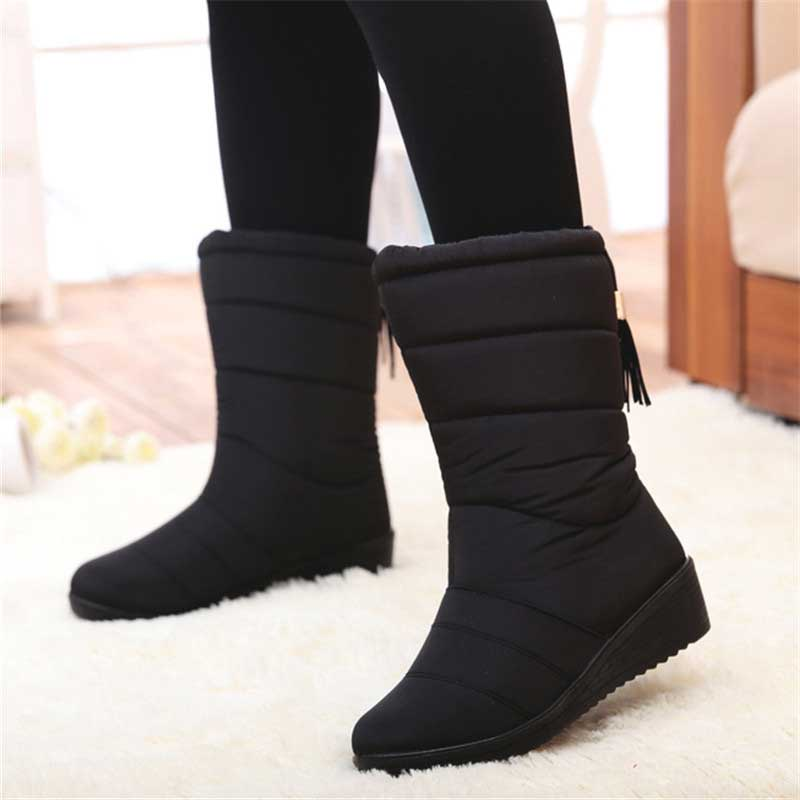 Winter Shoes Boots Plush-Insole Snow Mid-Calf Waterproof Woman High-Bota Ladies Mujer