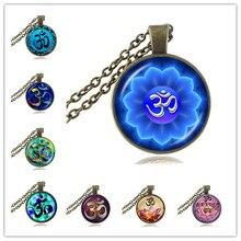 Om Pendant Necklace  Jewelry Chakra Necklace Mandala Flower of Life Pendant Glass Dome Yoga Neckless Women Jewellery HZ1
