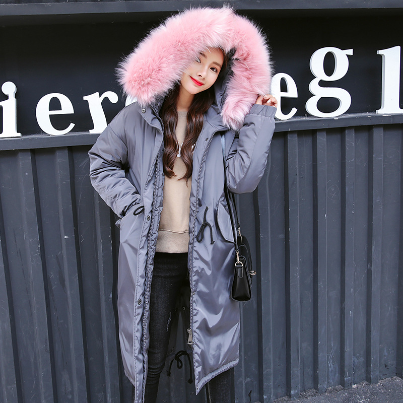 Fourrure green Section Mode caramel Capuchon Col 2018 Europe Longue Hiver Colour Manteau gray Chaud Amérique Vêtements Lâche Épaissir Femmes pink Black Css176 De Femme À 71gaxw5qa
