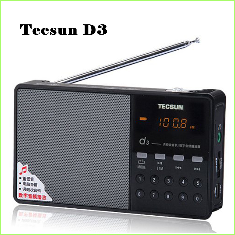 Hot Sale Tecsun D3 FM Stereo Radio Music MP3 Digital Song Selection TF Card Speaker With Built-In Speaker Free Shipping hand jet printer price