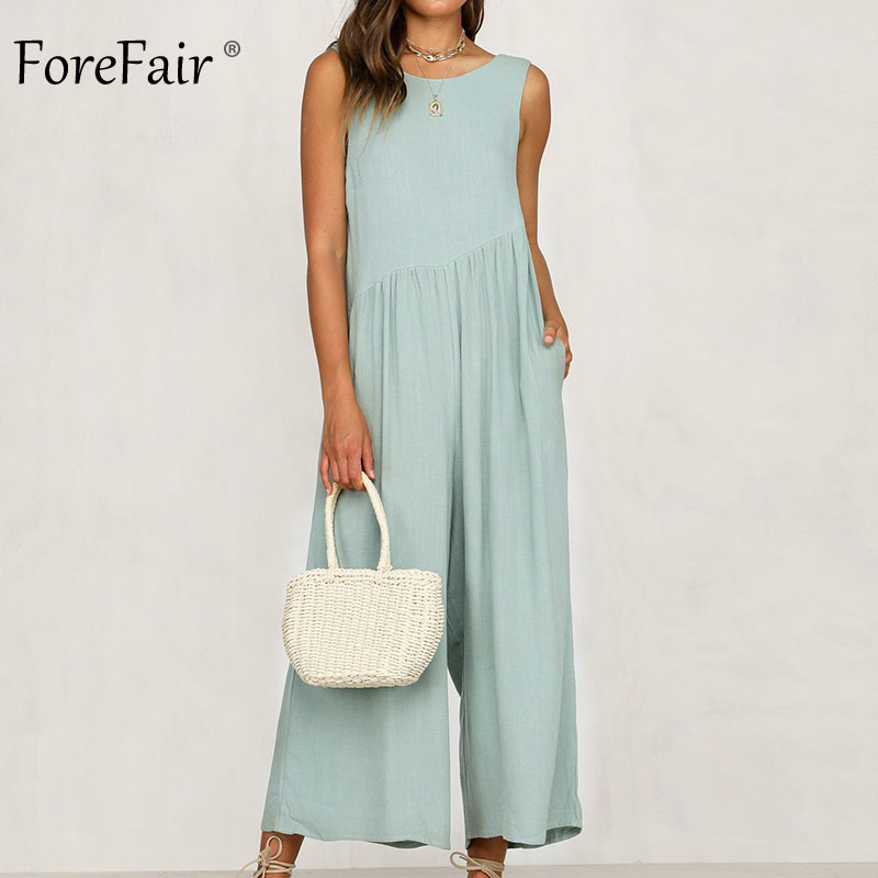 Forefair Summer Backless Linen Jumpsuit Women Wide Leg Elegant Off Shoulder Sleeveless Casual Sexy Jumpsuit Overalls For Women
