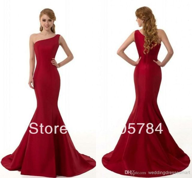 2014 Hot Sale One Shoulder Wine Color Mermaid Evening Dresses Cheap