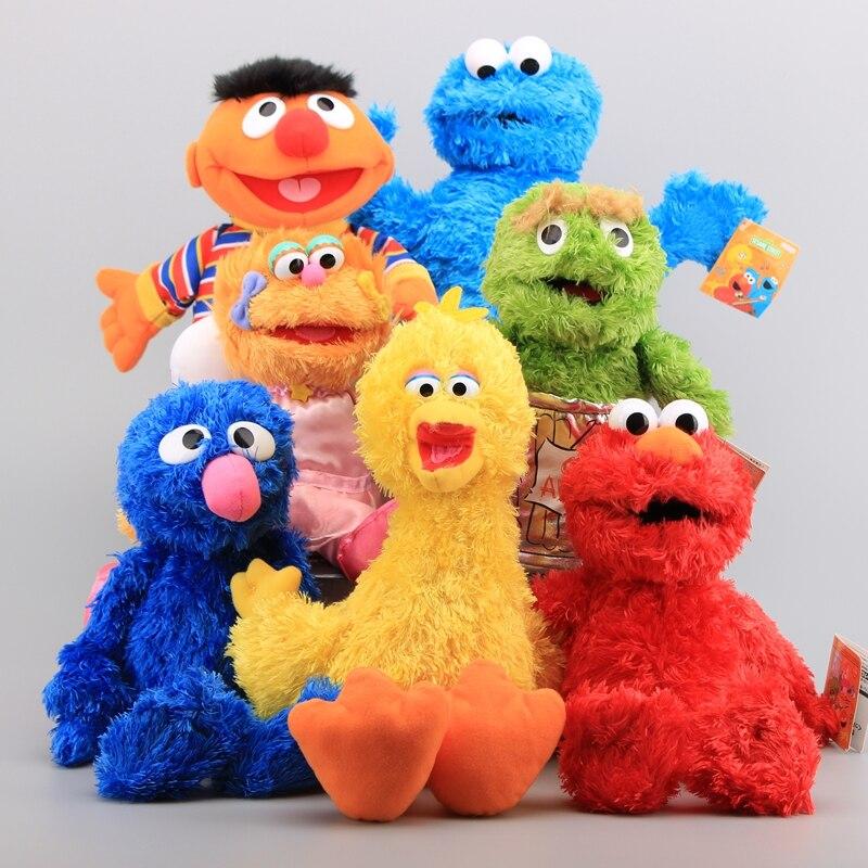 Sesame Street 7 Pieces Plush Hand Puppet Toy Dolls Elmo Cookie Monster Ernie Big Bird Grover Stuffed Dolls Kids Educational Toys