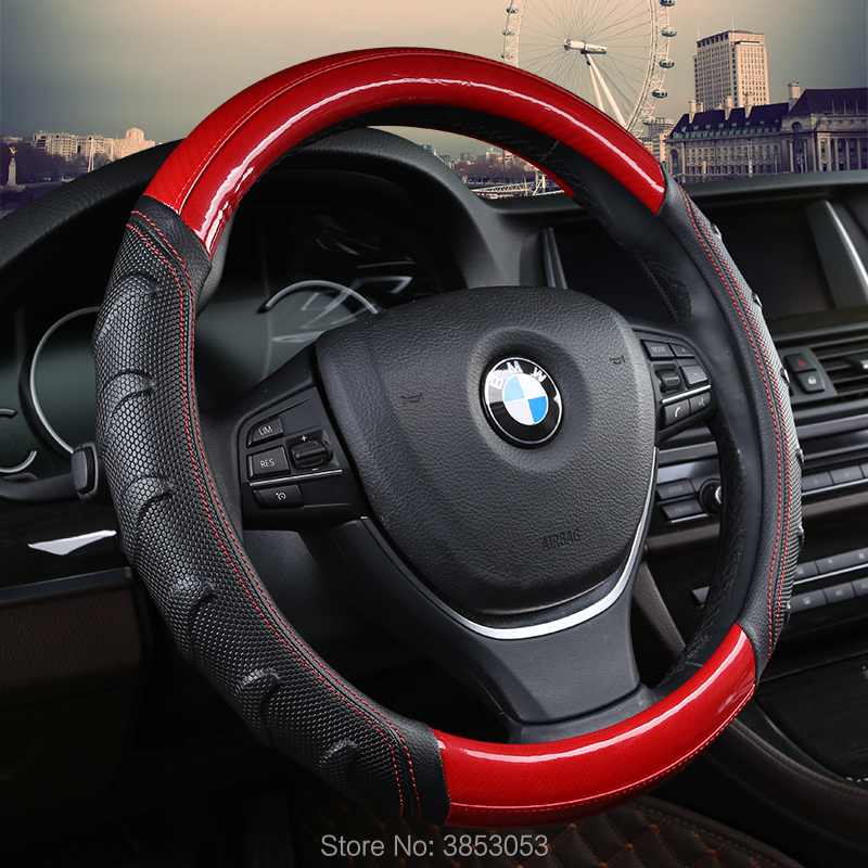 CAR WORLD Pu/Pvc leather material universal fit anti-skid car steering wheel cover for land cruiser nissan bmw benz