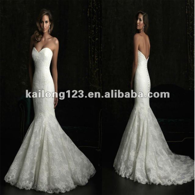 Stunning Slim Fit and Flare Chapel train Sweetheart Organza English Net  Lace Mermaid Dress eae2015bf1a8