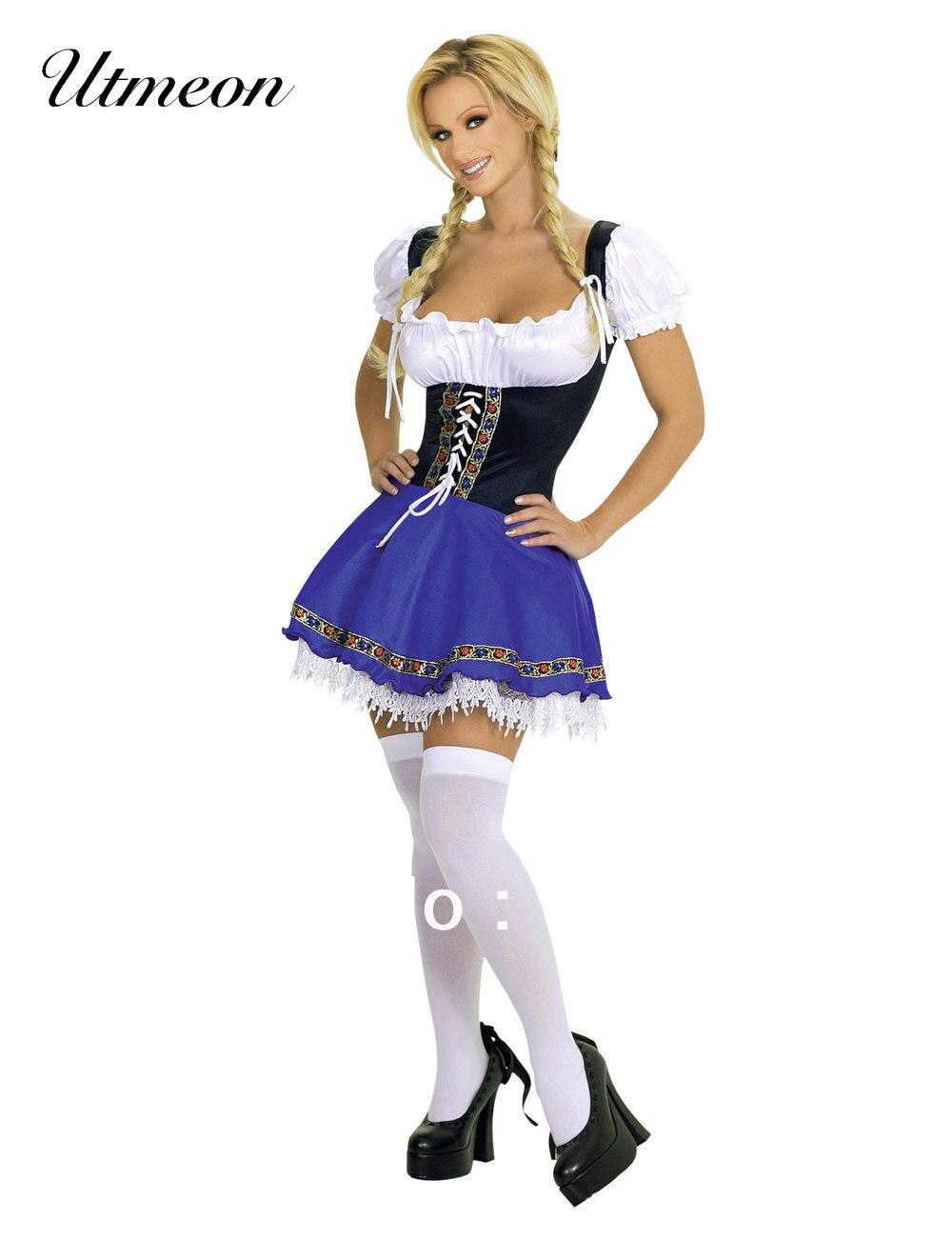 UTMEON-сексуальный женский костюм Октоберфеста Dirndl, платье горничной, немецкий баварский костюм для косплея, Сексуальные вечерние костюмы на Хэллоуин