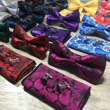 New Silk Jacquard Woven Men Butterfly Self Bow Tie BowTie Pocket Square Handkerchief Hanky Suit Set Floral Paisley 3pcs/set