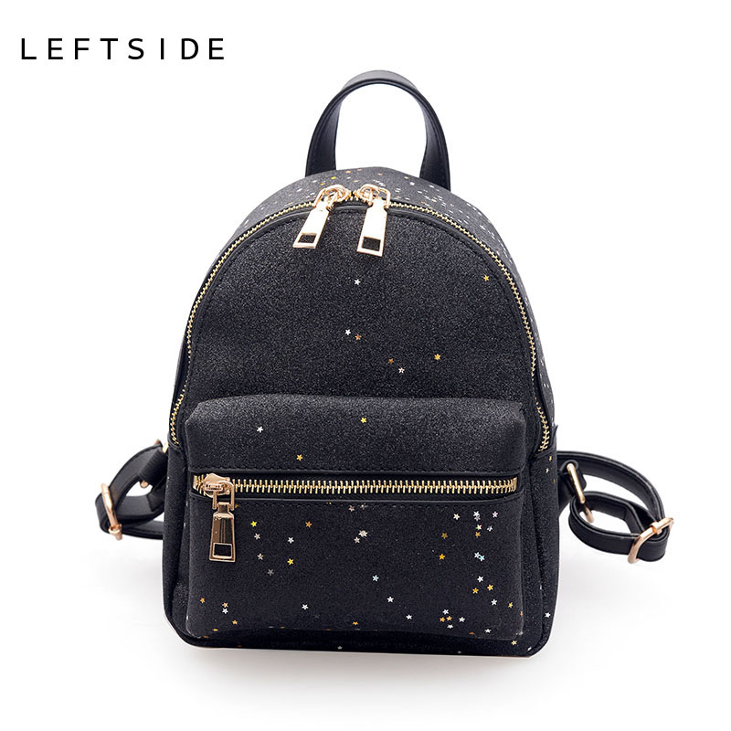aeabdc615027 LEFTSIDE Women Bling Bling Small Backpack 2018 Female Star Sequins  Backpacks For Teenager Girls School Bags For Traveling Black