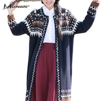 Soft And Warm Knitted Cardigans For Pregnant Women Retro Ethnic Style Argyle Print Long Sleeve Sweater