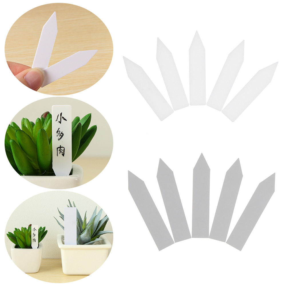 100Pcs White Plastic Plant Seed Label Pot Marker Nursery Garden Stake Tags Tool