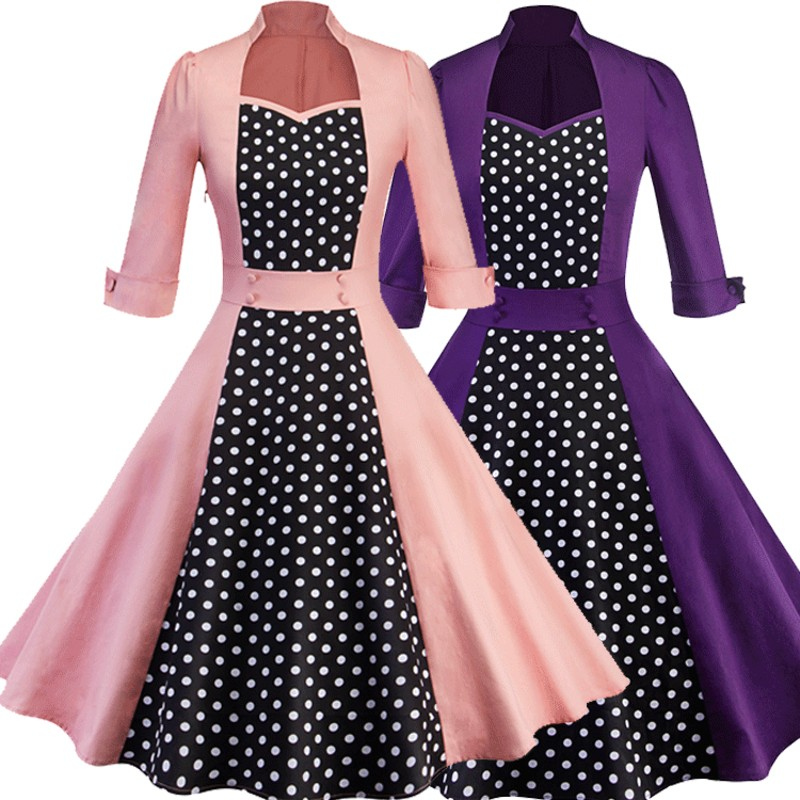 9057254671_274015360_conew2  2018 Ladies Clothes Pin UP Vestidos Spring Autumn Retro Informal Celebration Gown Rockabilly Gown 50s 60s Classic Midi Attire HTB1Fh1rAmtYBeNjSspkq6zU8VXay