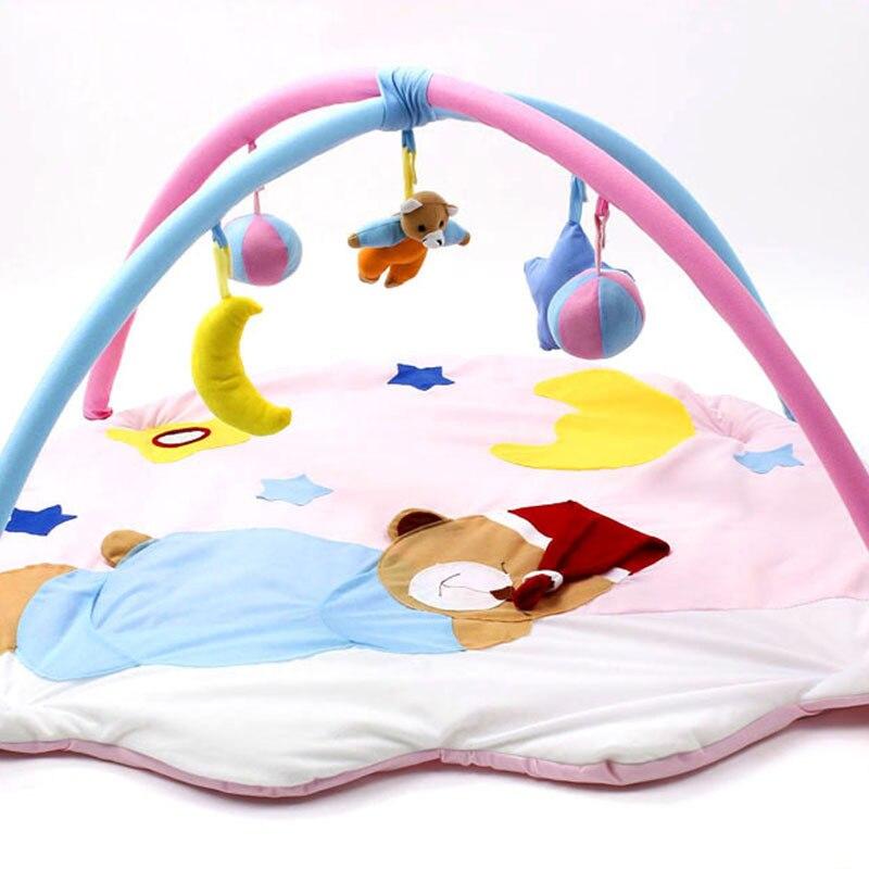 Amusant dessin animé dormir ours doux bébé tapis de jeu jouet enfants bambin Musical Gym activité jouer couverture bébé intérieur ramper tampons