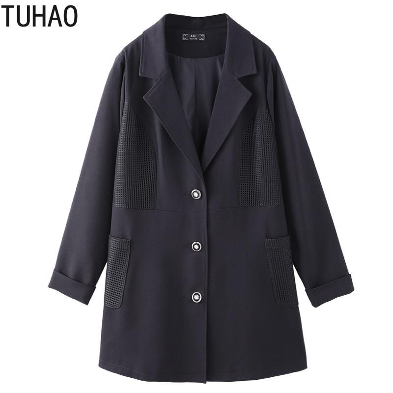 TUHAO Plus Size 10XL 9XL 8XL Women Blazer Long Sleeve Black Office Lady Suit Loose Coat Female Jacket Tops 6XL 5XL Basic Jackets