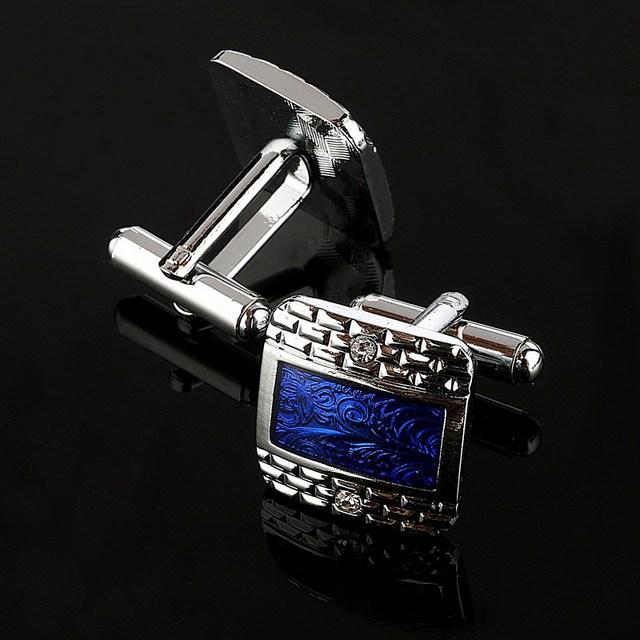 Luxury Navy Blue Design Silver Plated Cufflinks Men's Shirt