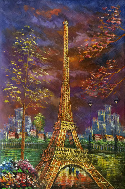 Aliexpress.com : Buy Hand Painted European Landscape ... Eiffel Tower Painting Landscape