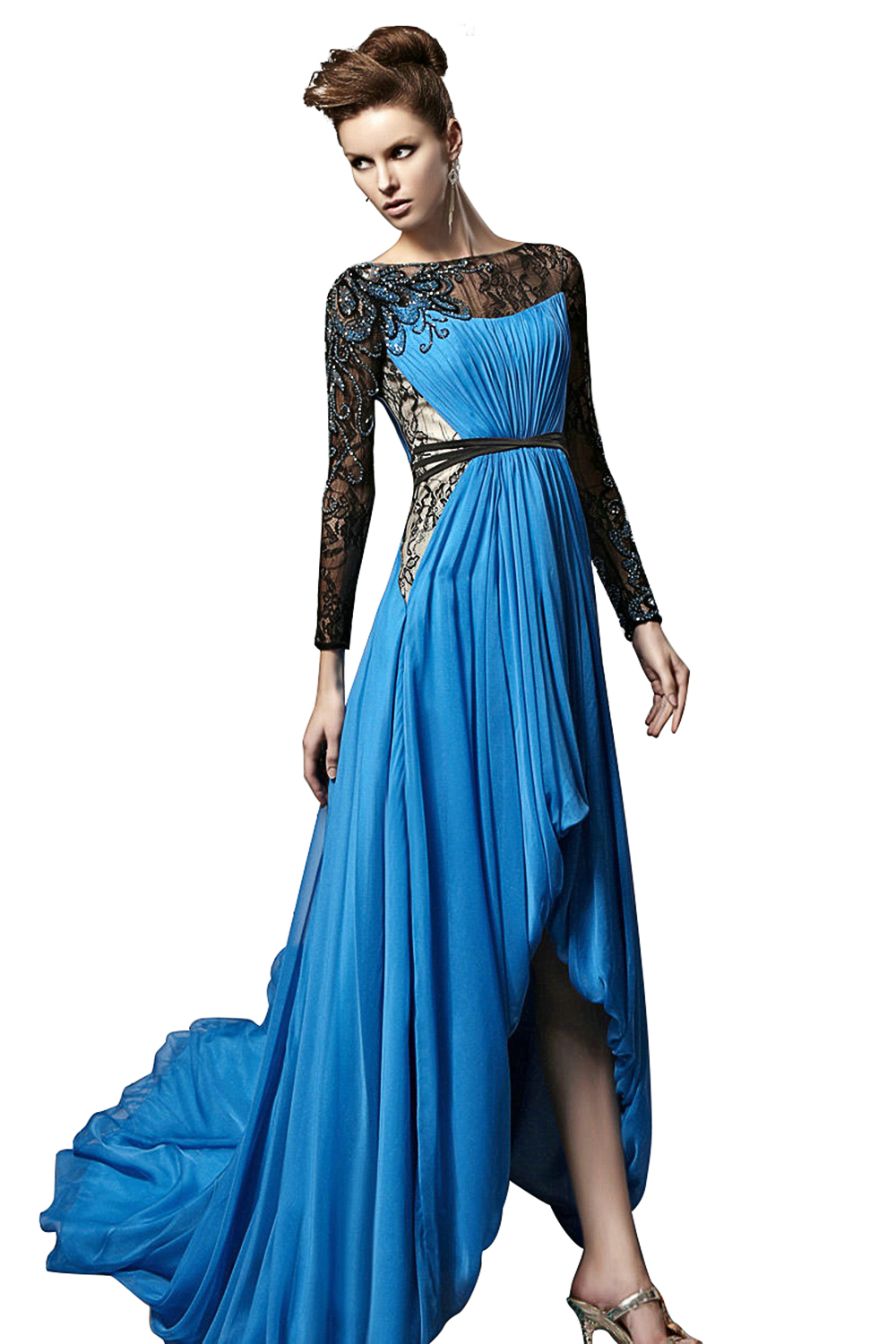 Royal Blue Prom Dresses 2017 Boat Neck Lace Long Sleeves Crystal ...