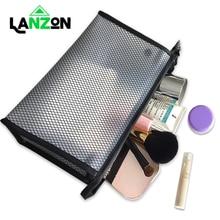 Lanzon Transparent  EVA Cosmetic Bags Travel Waterproof Mesh Makeup Tools Storage Bag Necessaire Wash Pouch Toiletry Organizer